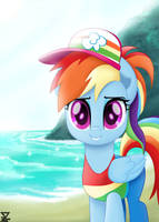 Rainbow Dash in the beach 2 (BONUS) by TheRETROart88