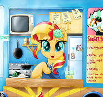 Sunset Shimmer hello I can serve you! (sushi)