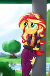 Sunset shimmer enjoying the day (EQG SERIES) by TheRETROart88