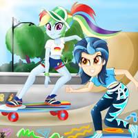 Indigo Zap and Rainbow Dash Skating (EQG SERIES) by TheRETROart88