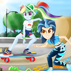 Indigo Zap and Rainbow Dash Skating (EQG SERIES) by TheRETROart88