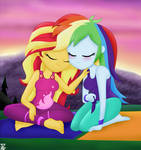 Sunset Shimmer And Rainbow Dash Good friends