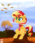 Sunset shimmer fall view
