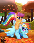 Rainbow dash and scootaloo play fall by TheRETROart88