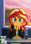 Tell me more about you Sunset shimmer by TheRETROart88