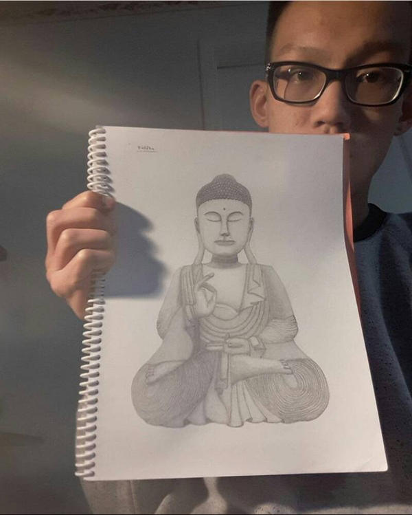 Buddha drawing finished by ArtByRandy