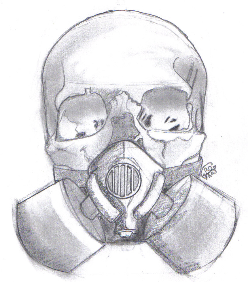 How to draw a skull with a gas mask