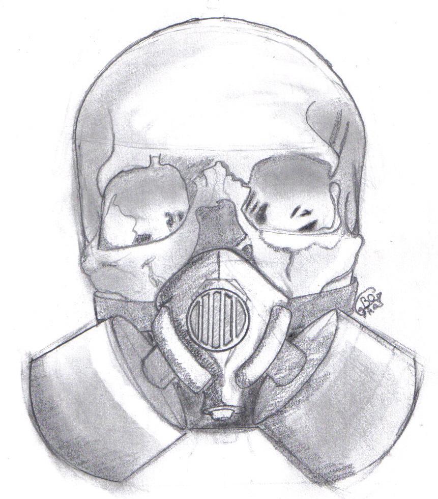 evil gas mask art ...