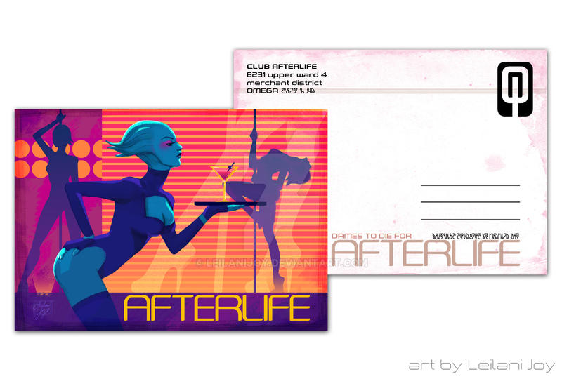 Club Afterlife Postcard Design Front And Back By Leilanijoy
