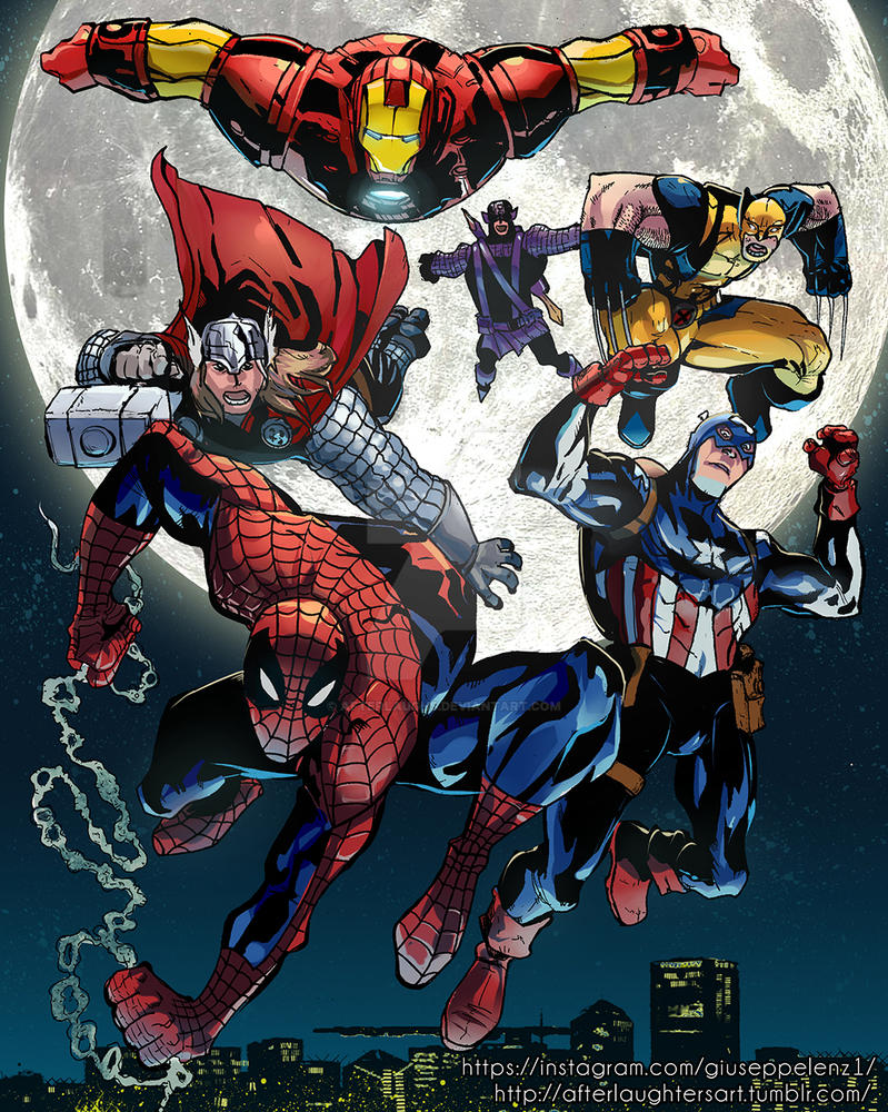 Avengers! Collab with GiuseppeLenz1 by Afterlaughs