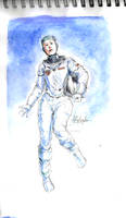Woman in Space - watercolor