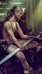 Woman with Sword by KEileena