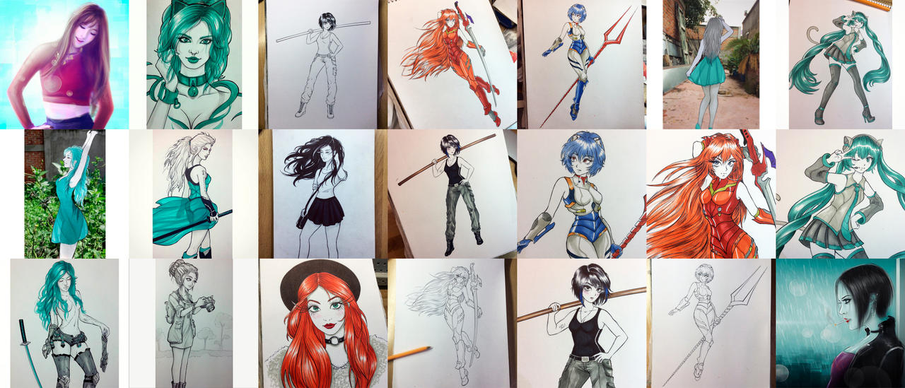 Drawings of Instagram bunch 1 by Roberto-Miranda