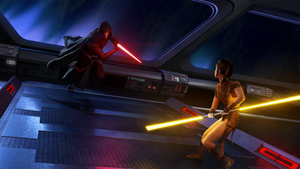 Star Wars - Darth Revan vs. Bastila Shan by thetechromancer