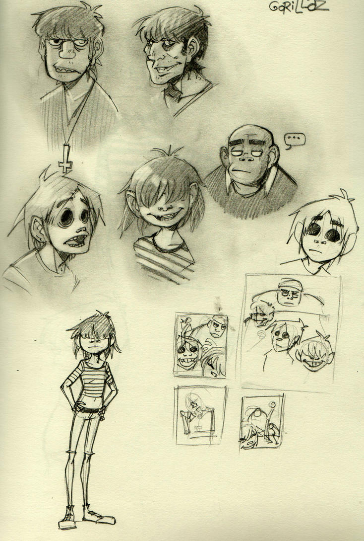 Gorillaz Doodles by mr-book-faced