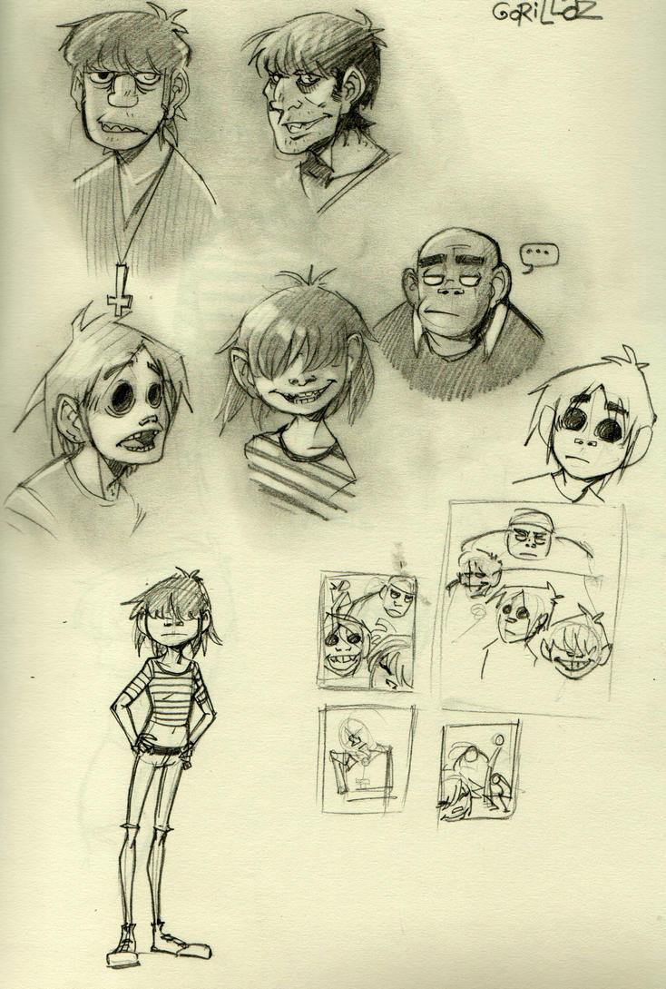 Gorillaz Doodles by mr-book-faced