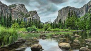 Landscape creek-scene painting
