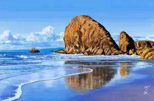 Landscape rocky  sea shore painting