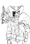 Capt Hook and Tiger Lily inks by rusting-angel
