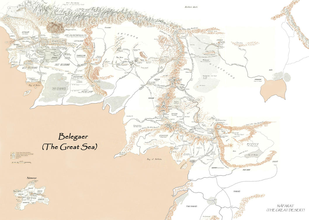 merged map of middle earth by enerdhil of gondolin