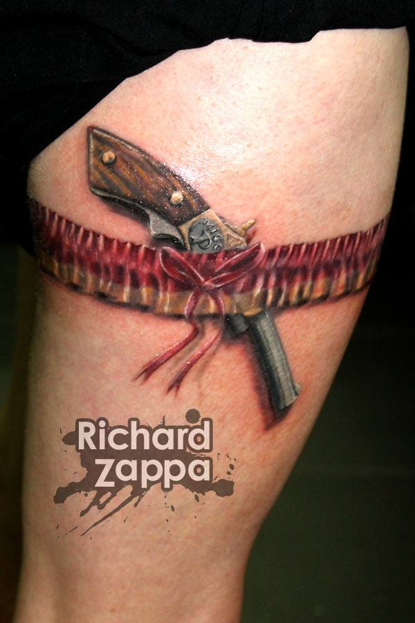 gun and garter tattoo by zuludroog on deviantart. Black Bedroom Furniture Sets. Home Design Ideas