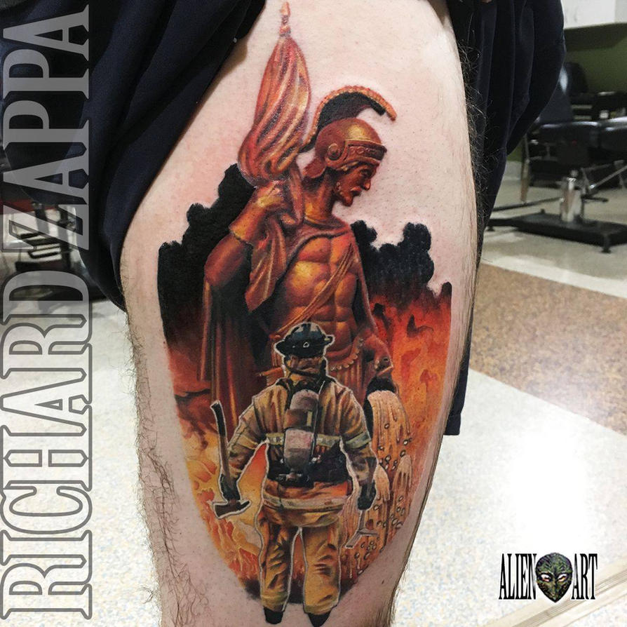 Saint Florian and Firefighter Tattoo by zuluDROOG on