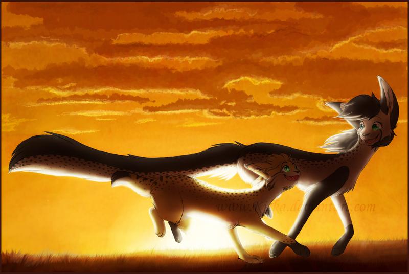Lynx and cheetah by Kitka