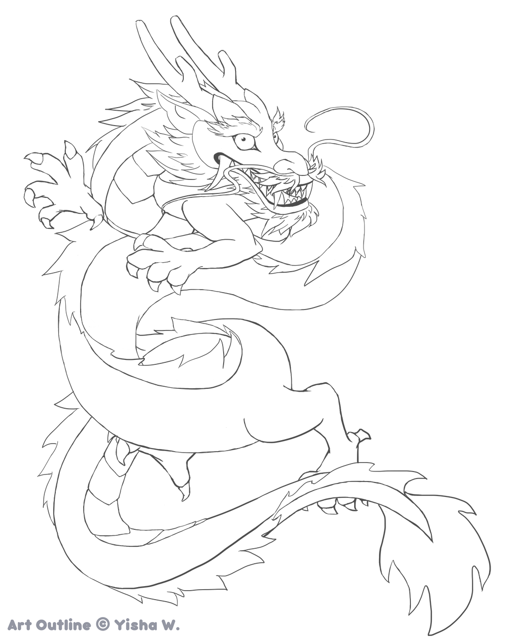 chinese dragon outline by hellopandagirl chinese dragon outline by hellopandagirl