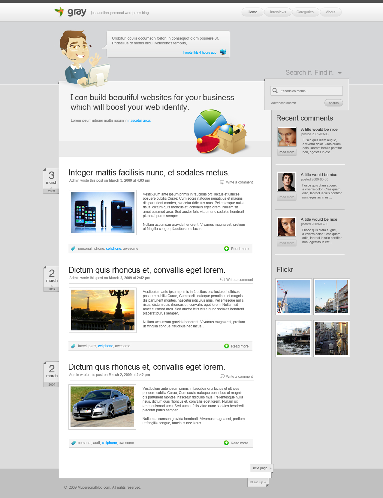 Simple wordpress theme by yehsper on deviantart for Wordpress design