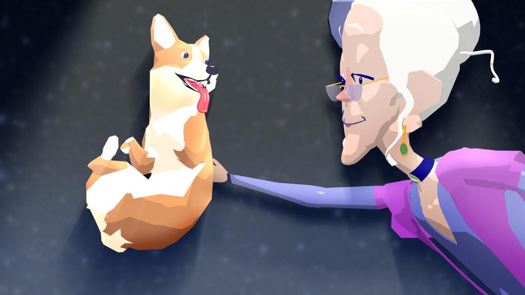 Corgi and old Lady by 3litza