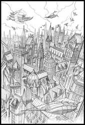 D and D Eberron Sharn City by chrislie