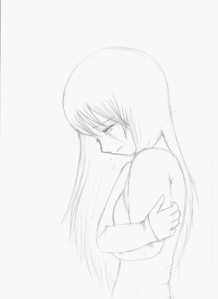 anime girl crying crossed arms sketch by Little-Fangirlx ...