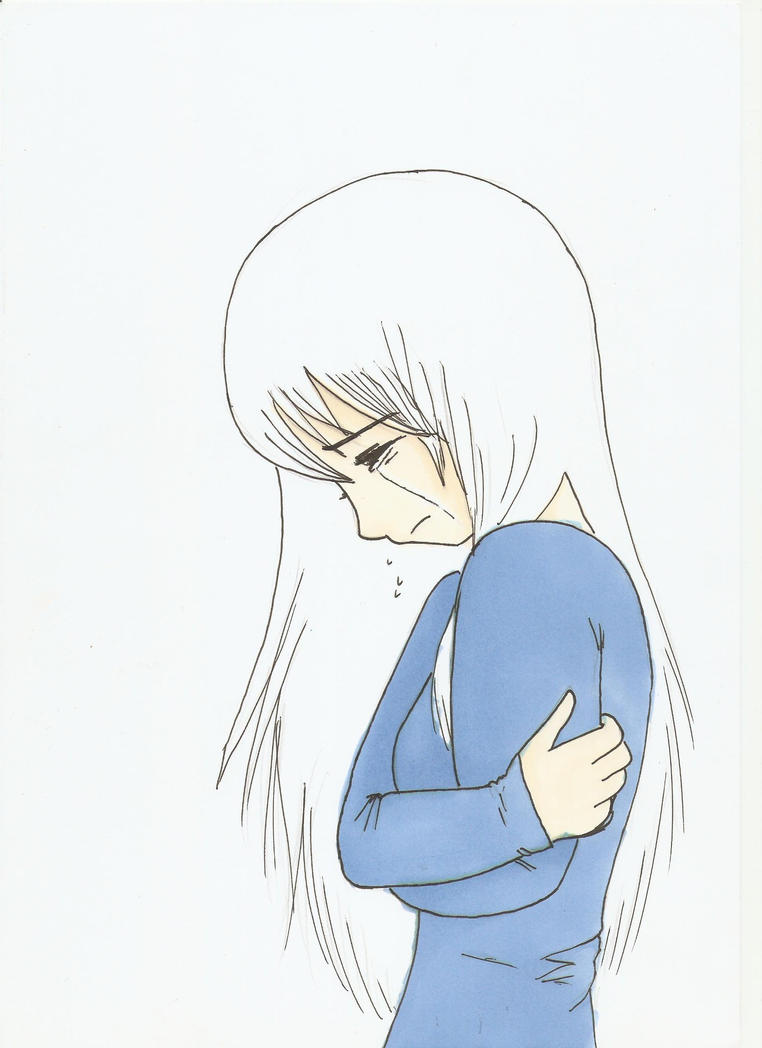 anime girl crying cros...