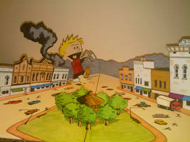 Calvin the giant town pop up by WillziakDS