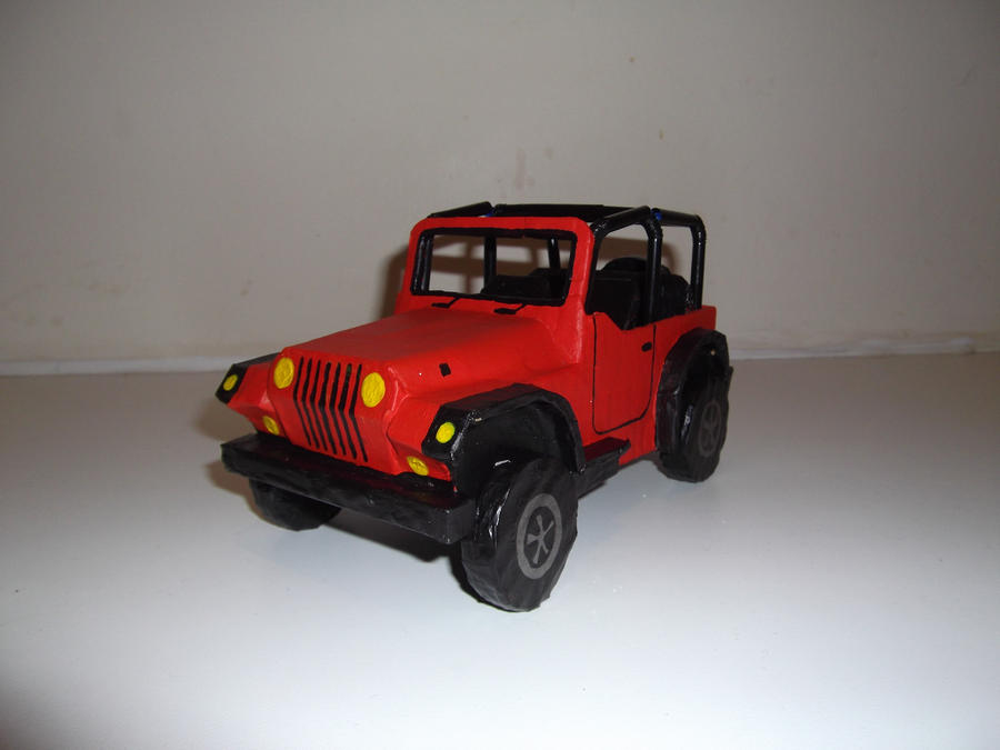 Red Jeep Wrangler Papier Mache by WillziakDS