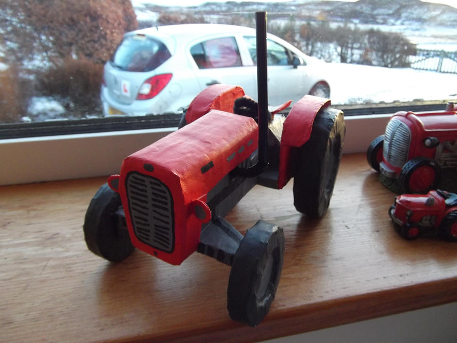 Red Papier Mache Tractor by WillziakDS
