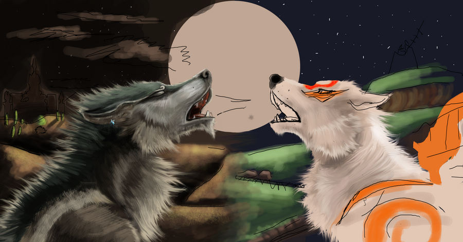 Wolf Link and Amaterasu :Wip: by Loftwing on DeviantArt