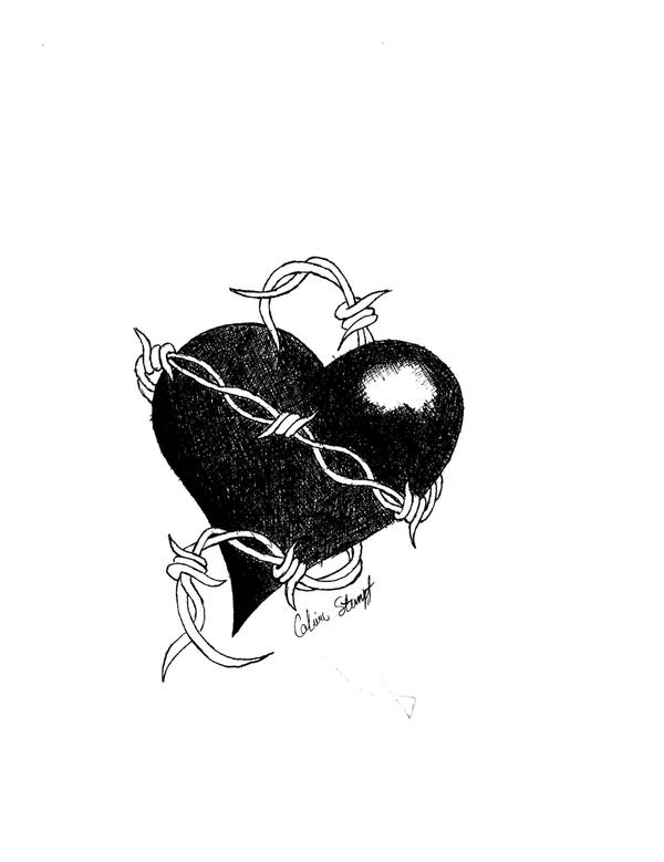 barbed wire heart drawing - photo #16