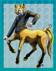 Sanji as a Centaur by UnusualJuggernaut