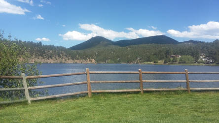 Mountain lake with fence