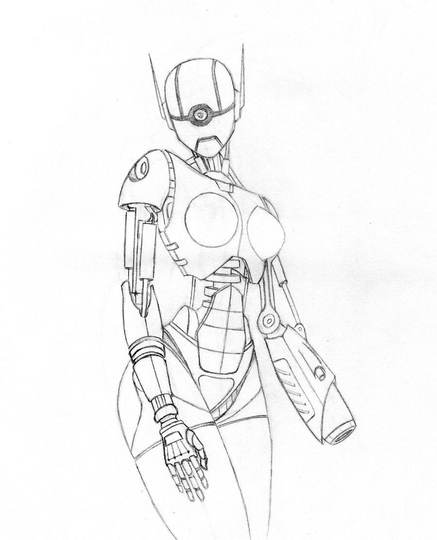 Human Robot Concept Art Robot concept wip byRobot Face Drawing