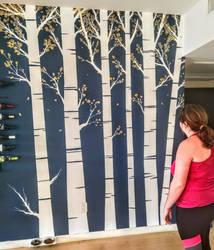 birch tree mural