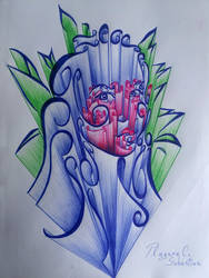 Amazing bouquet girl in ballpoint pen
