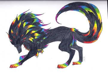 Rainbow Wolf by Darkava-Nokiven