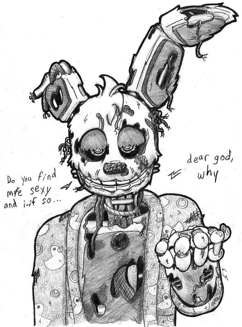 Springtrap has a question by lilttemiss on deviantart for Fnaf coloring pages springtrap
