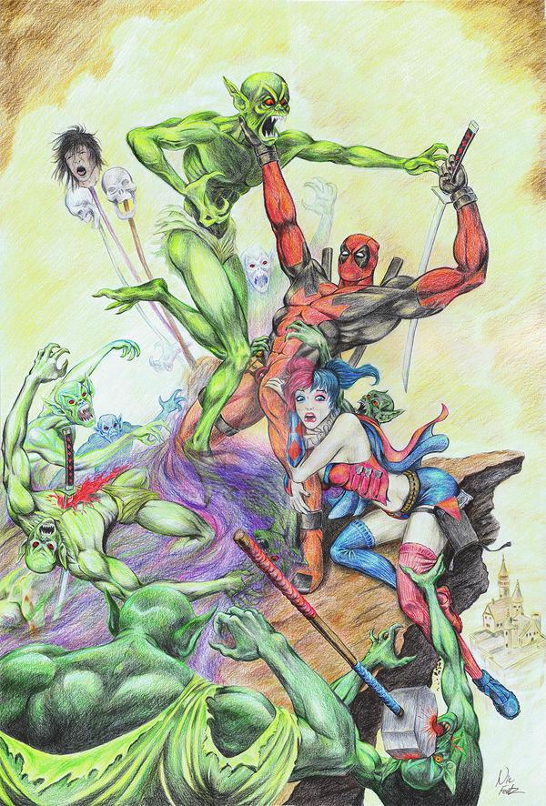 Dead Pool Harley Quinn Conan-Mashup by Lead-Base
