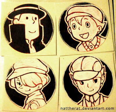 ::COMMISSION:: Professor Layton stickers by nattherat