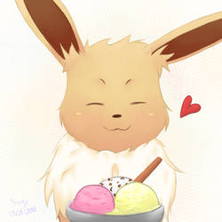 Happy Eevee with Ice by Yosuky