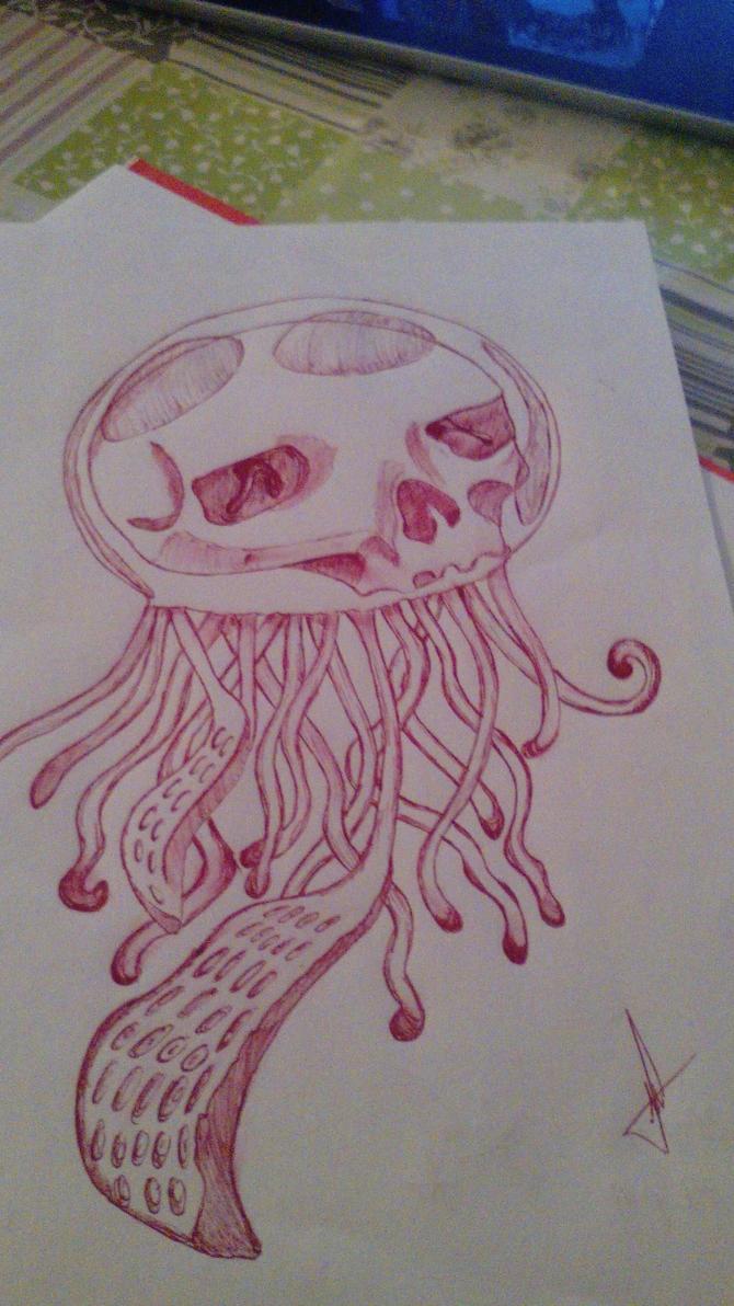 Human skull in jellyfish_ Medusa by GemaLisbeth