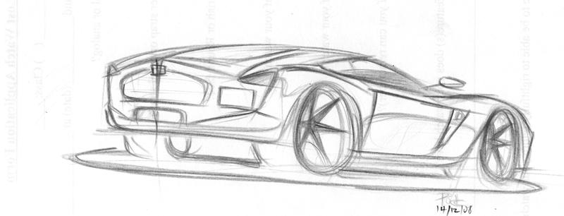 Concept car pencil sketch by turbopok